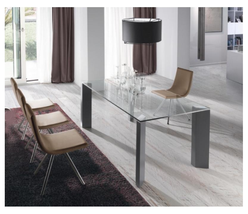 Mesa Comedor Cristal Transparente Extensible Logic Plus extensible ...