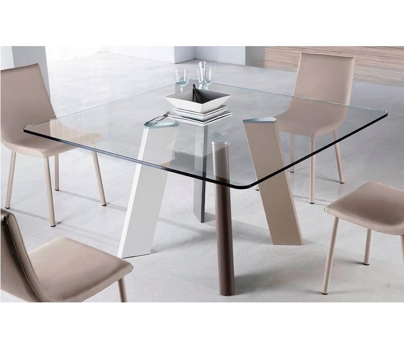 Mesa comedor cristal transparente play cuadrada ramiro for Mesas de comedor cristal transparente