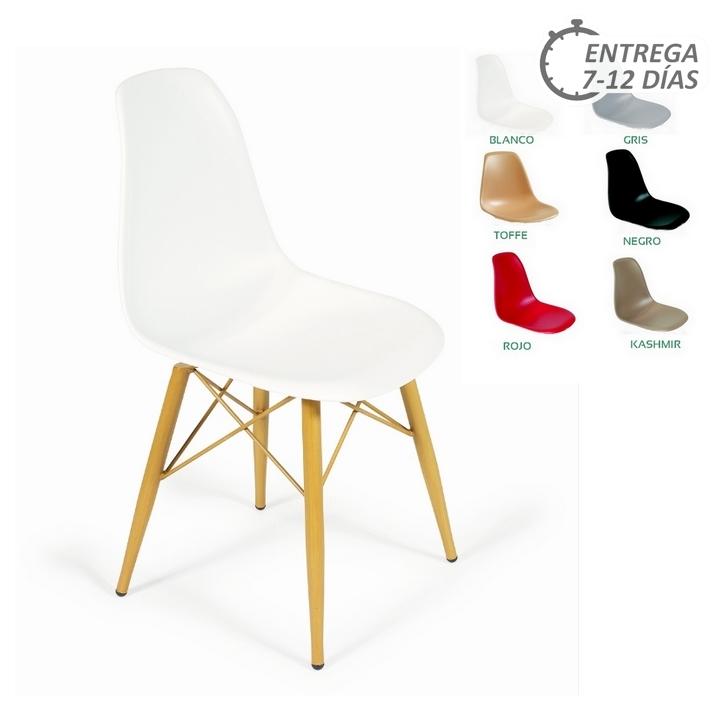 Silla 25 picasso x4 pata acero imitaci n madera sillas for Sillas de imitacion