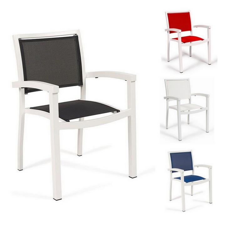 Sill n terraza 25 eros textilene blanco sillas mesas y for Sillon terraza